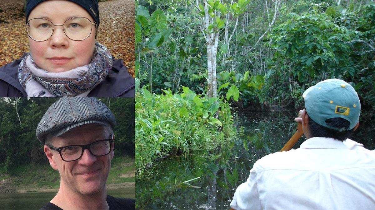 tre bilder på personer varav en paddlar på flod