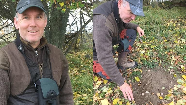 Två bilder på samma man, en porträttbild och en bild där han undersöker en fläck barskrapad jord