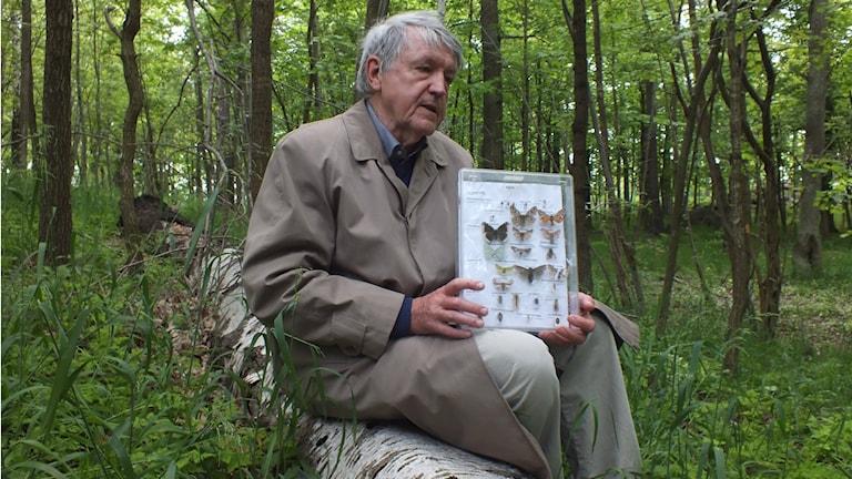Bengt Ehnström med några av de arter som gynnas av björk.