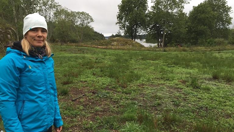I Nynäsområdet har skogsbetesmarken återskapats. På bilden biolog Anna Ingvarsson vid Rösten i Nynäsområdet i Sörmland.