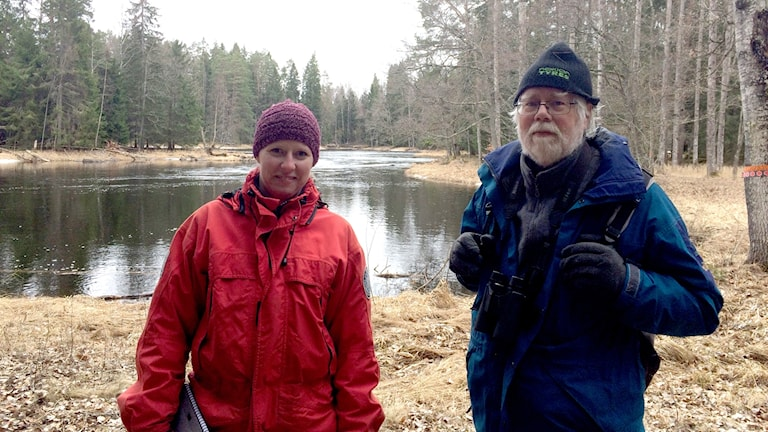 Dagmar Jonsson, nationalparksförvaltare, och Dick Fransson, fågelskådare, i Färnebofjärdens nationalpark.