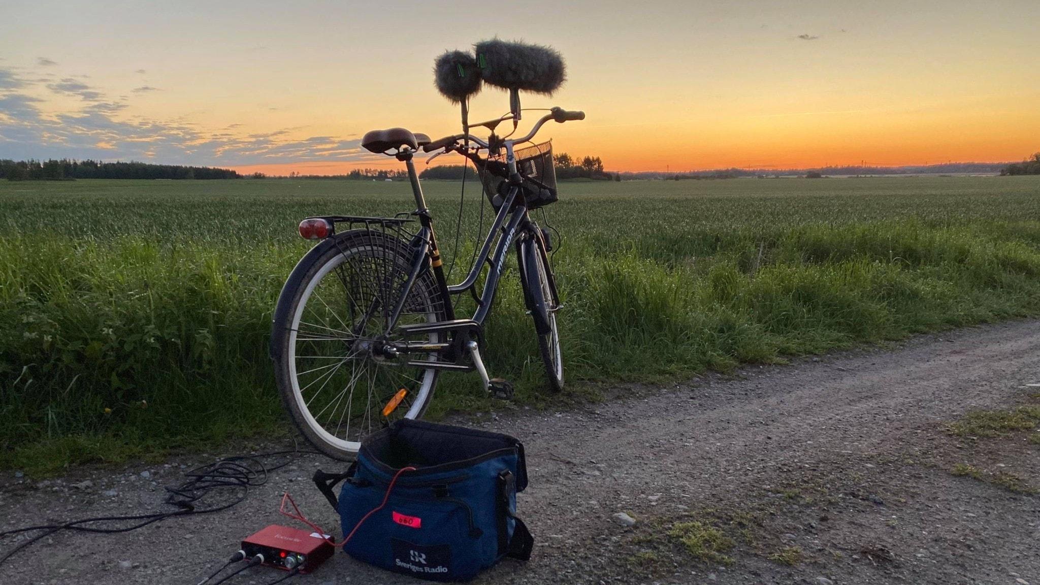 en cykel med mikrofoner på styret i grynen