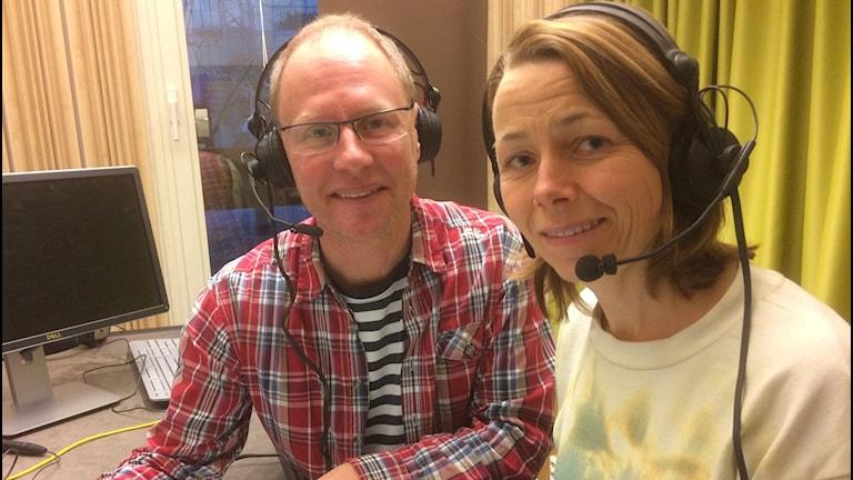 "Joacim Lindwall och Jenny Berntson Djurvall i ""Japan-studion"""