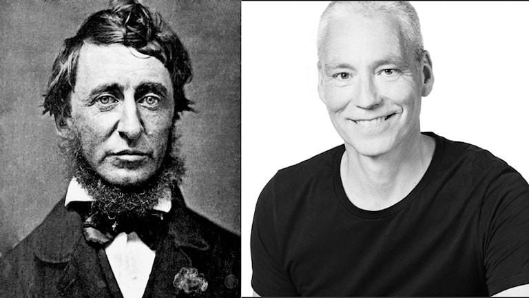 Porträttbilder av Henry David Thoreau och Mats Ottosson