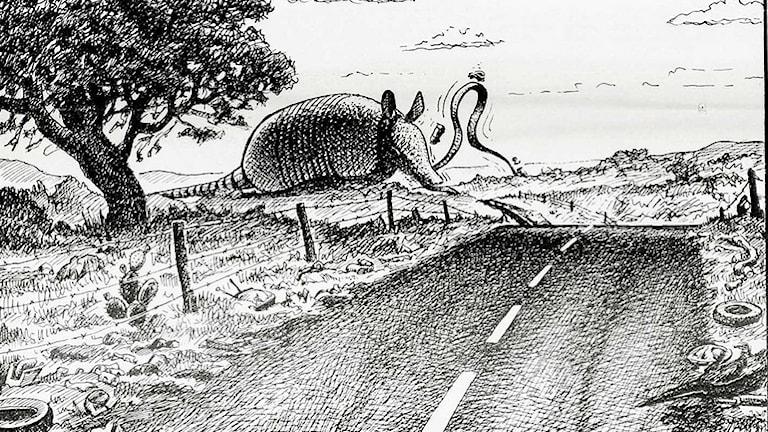 Detalj från affisch av Jim Franklin. Ett bältdjur i bildens fond äter upp vägbanan på en asfalterad landsväg.