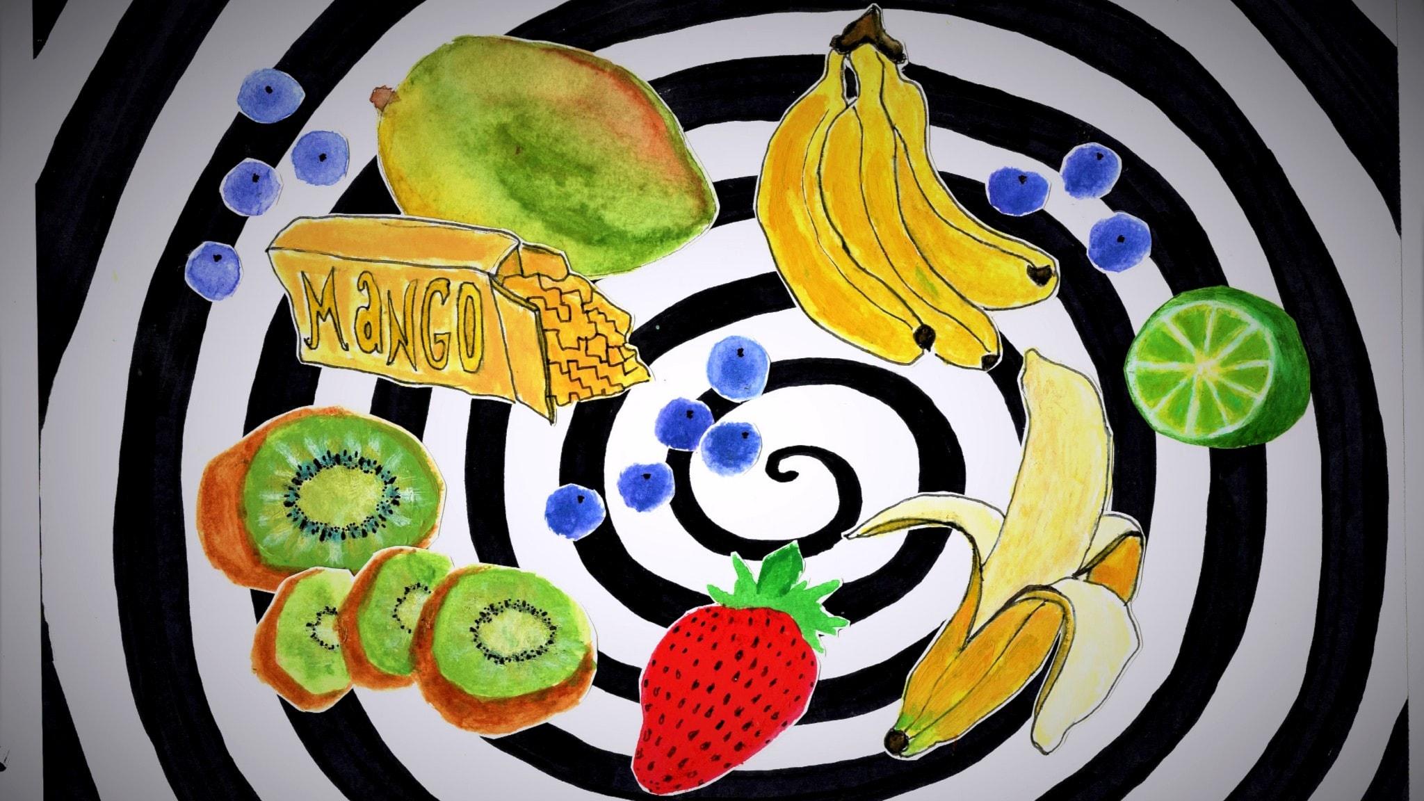 Piirros eri hedelmiä kiekuralla taustalla