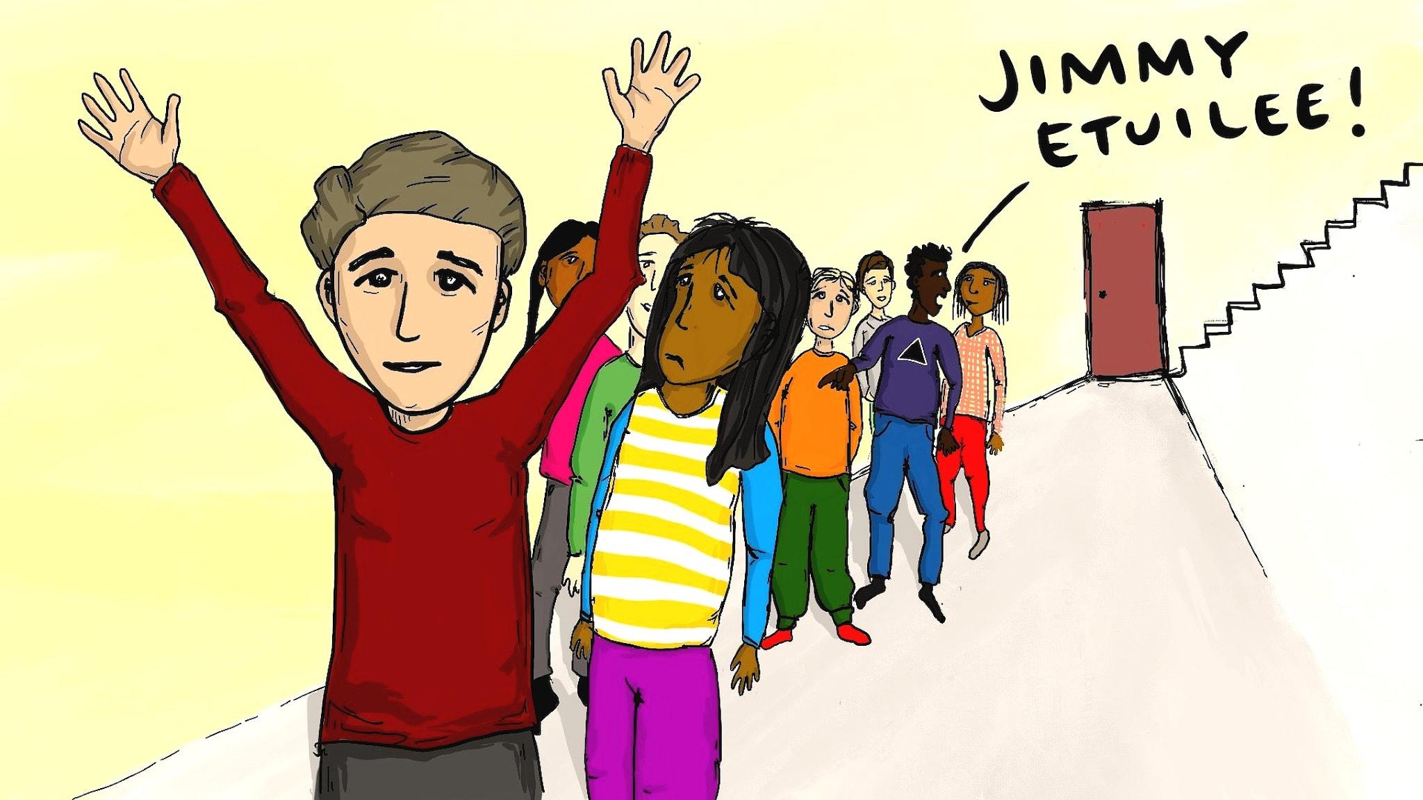 Piirros Jimmystä kun hän etuilee ruokajonossa