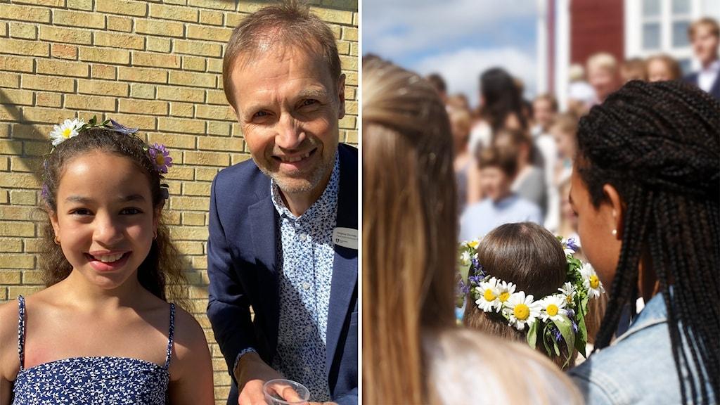 Eleven Malak som går ut tredje klass och rektor Magnus Duvnäs som ser framemot semester i juli.