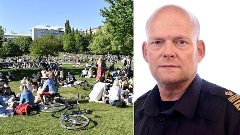 Mycket folk i Tantolunden och en polis till höger.