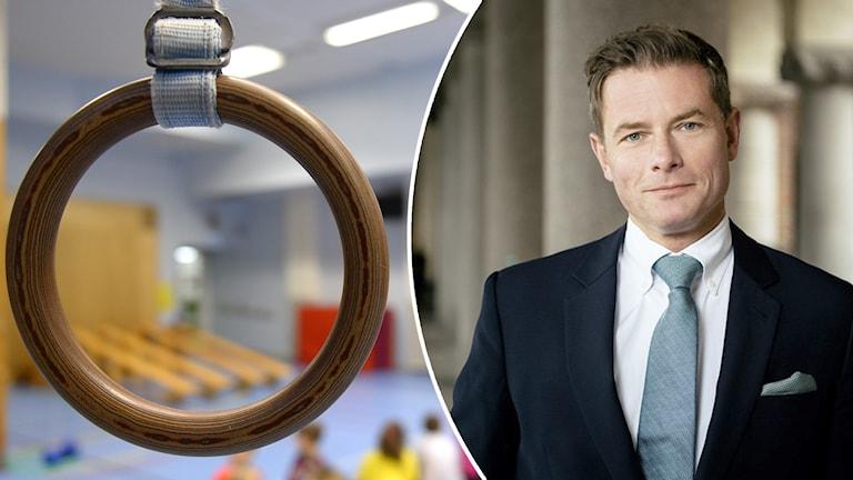 Idrottshall och politikern Joakim Larsson.