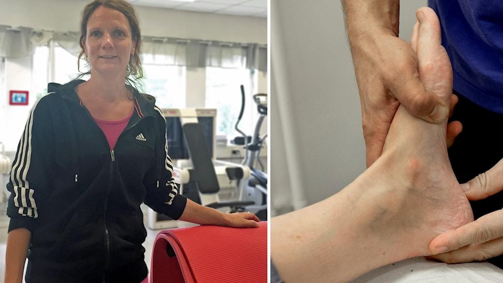 Fysioterapeuten Ann-Mari Lidström och man som behandlar fot.