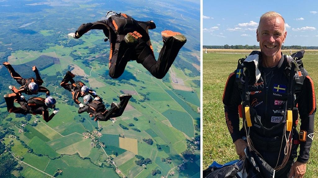 En bild med fallskärmshoppare i luften och en bild på Mattias Nord på ett fält.