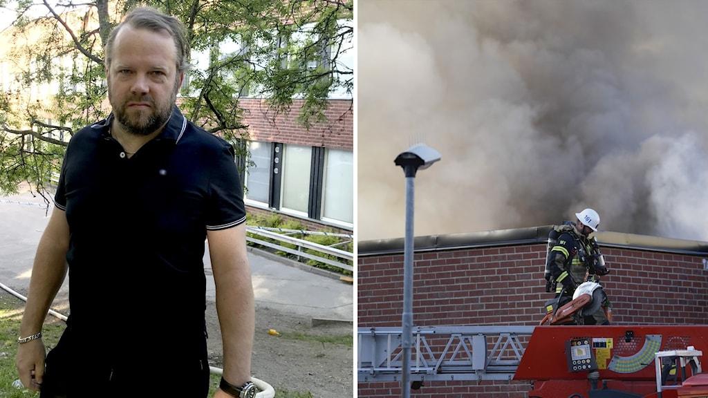 Till vänster en man som tittar in i kameran, till höger rök från en byggnad och räddningstjänstens fordon.