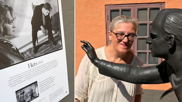Mikaela Kindblom, filmhistoriker, vid statyn Teatervagnen där Bergman är med