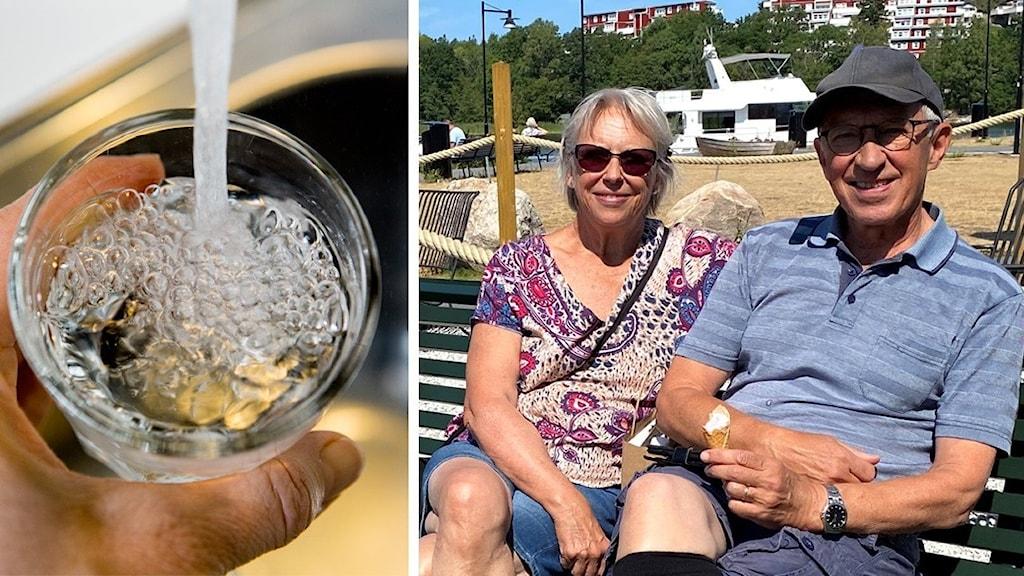 En bild på ett vattenglas och en bild på Ingela och Hans Olsson som sitter på en bänk.