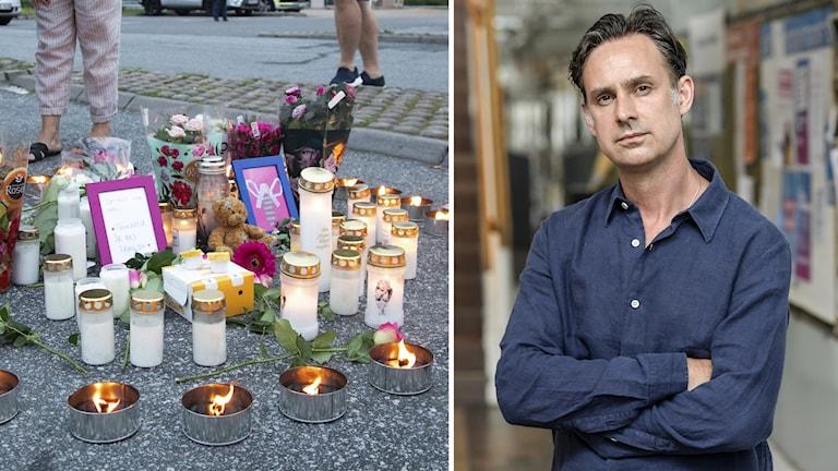 Till vänster ljus och blommor på en minnesplats, till höger Sven Granath med korslagda armar som tittar in i kameran.