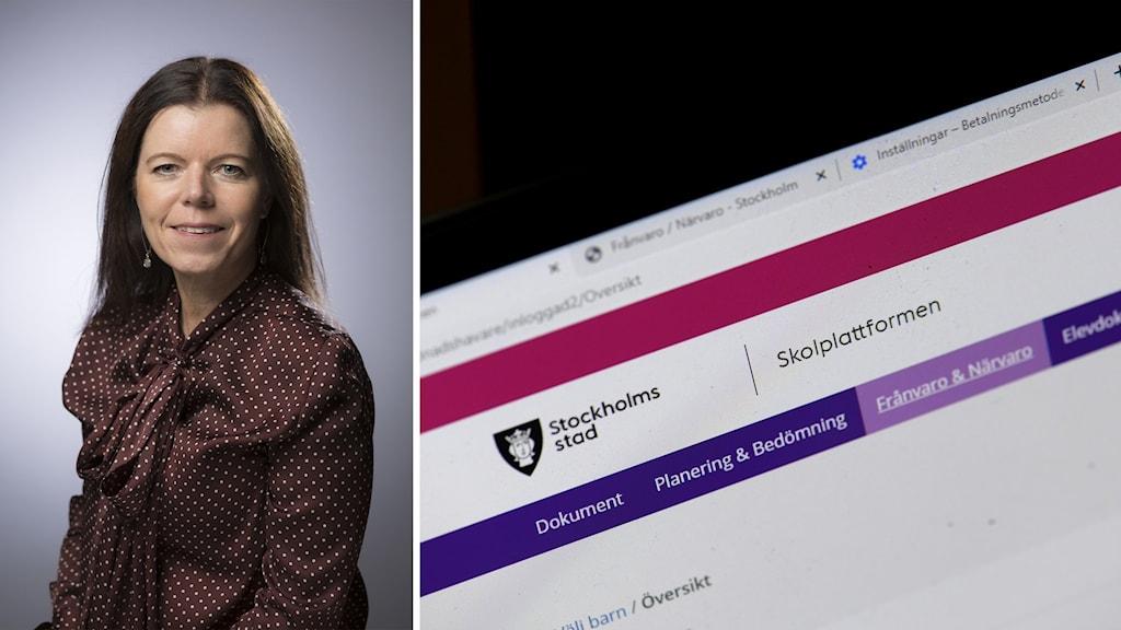 Kvinna och skärmdump från dator