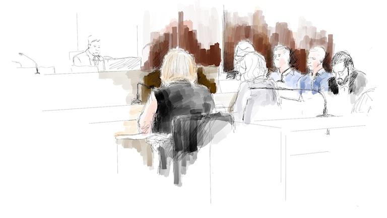 Illustration från rättegången.