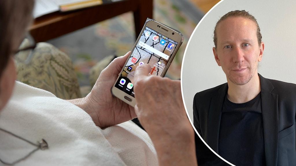 Äldre kvinna använder mobiltelefon och Johan Waara till höger.