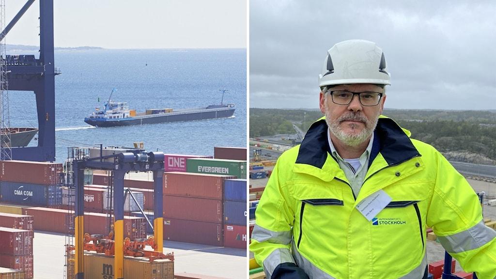 En hamn och till höger Mike Barry, Hutchison port Stockholms marknadschef.
