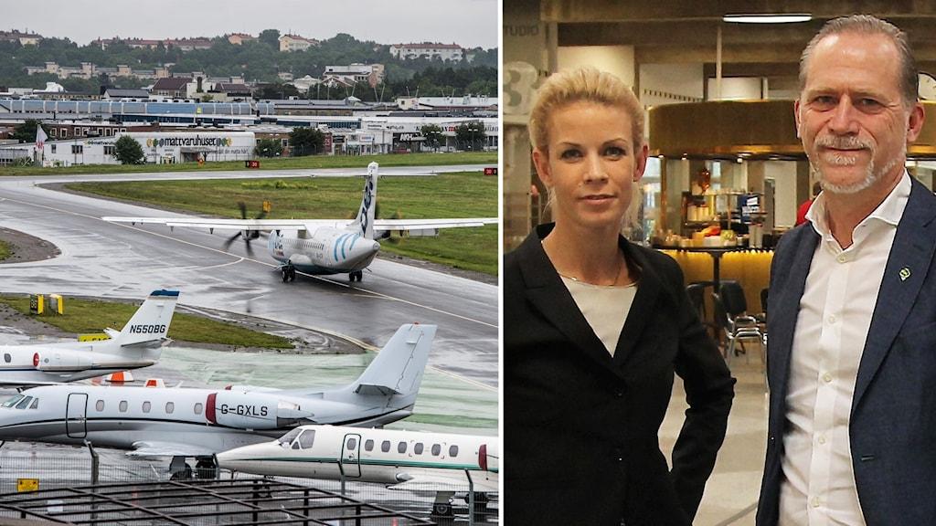 Finansborgarråd Anna König Jerlmyr (M) och trafikborgarråd Daniel Helldén (MP) står bredvid varandra i hangaren i Radiohuset. En annan bild visar ett plan som rullar ut på startbanan på Bromma flygplats.