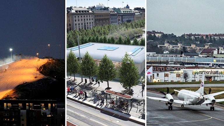 Hammarbybacken, Apple-butiken och Bromma flygplats