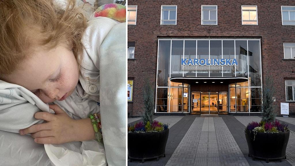 Evelia Temple ligger i en sjukhussäng, och entrén till Karolinska i Solna.
