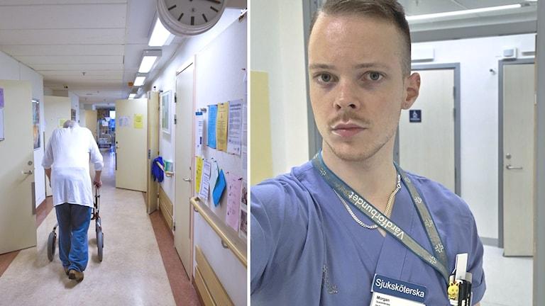 Sjuksköterskan Morgan Råström (till höger) jobbar på akutmottagningen men har sagt upp sig.