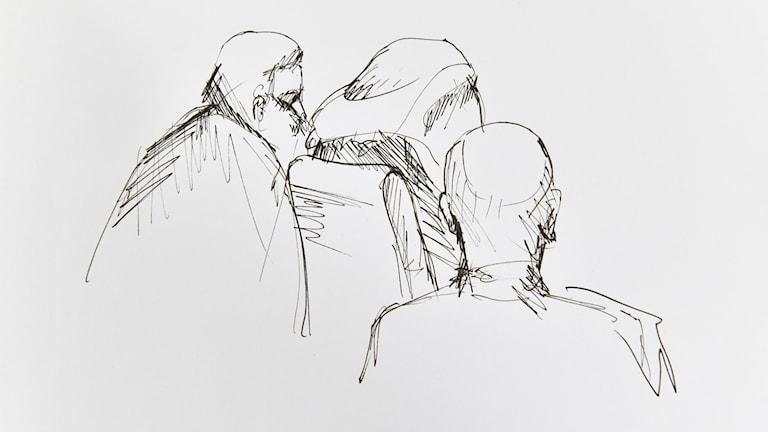 Rakhmat Akilov, (C) med täckt huvud,