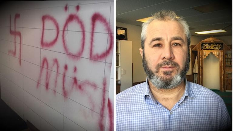 Rasistiskt klotter i Bredängs moské.