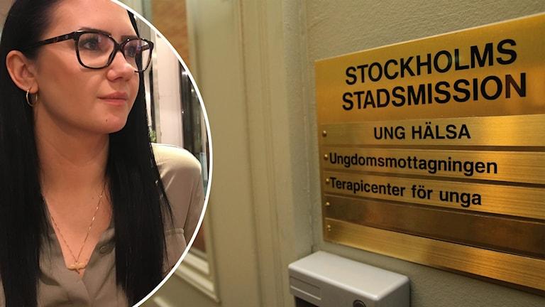 en bild på Elsa Halmkrona Hed och en bild på en skylt av guld utanför en dörr.