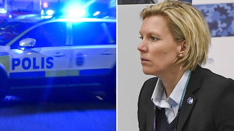 Polisbil och Ylva Martinsen.