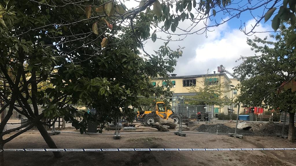 Det brinner på en förskola i Hammarby sjöstad