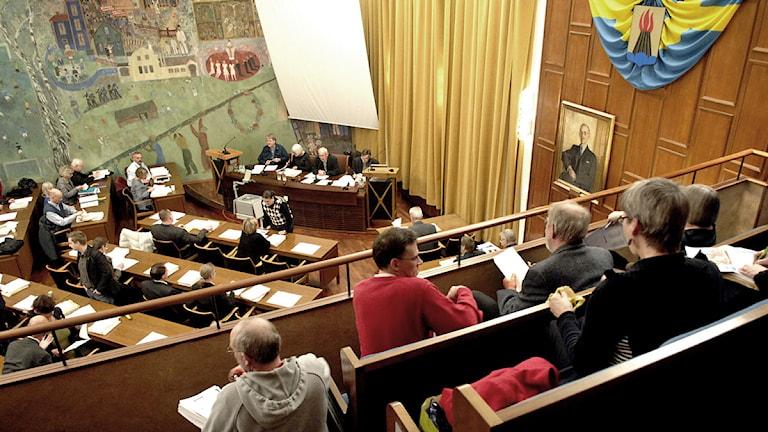 Politiker i kommunfullmäktigesalen i Huddinge. Arkivfoto: Ingvar Karmhed/Scanpix.