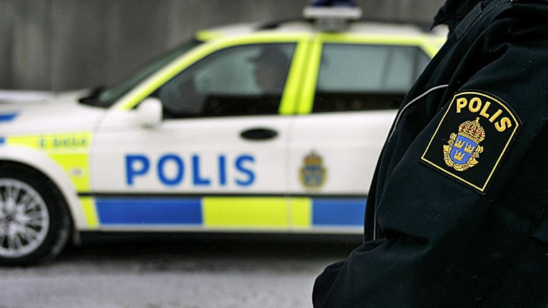 En polisman i uniform framför en polisbil. Foto: Scanpix.