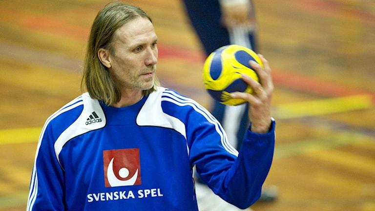 Olsson tränar landslaget i Hanbolls-VM. Foto: Björn Larsson Rosvall /Scanpix.