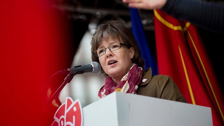 Carin Jämtin håller 1a-majtal och nu är frågan vem som kommer att stå på Norra bantorget i år. Foto: JONAS EKSTRÖMER / SCANPIX