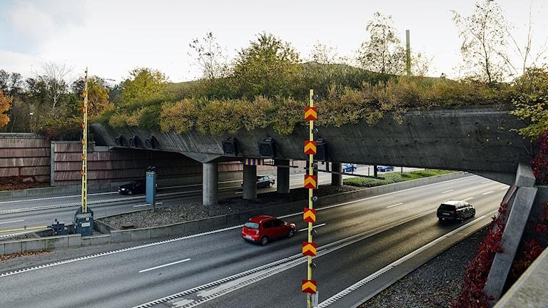 Ekodukt bro mellan Sickla och Hammarby sjöstad