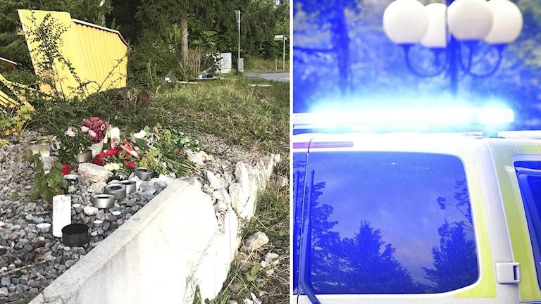 Till vänster ljus till minne för den avlidne personen, till höger en polisbil.