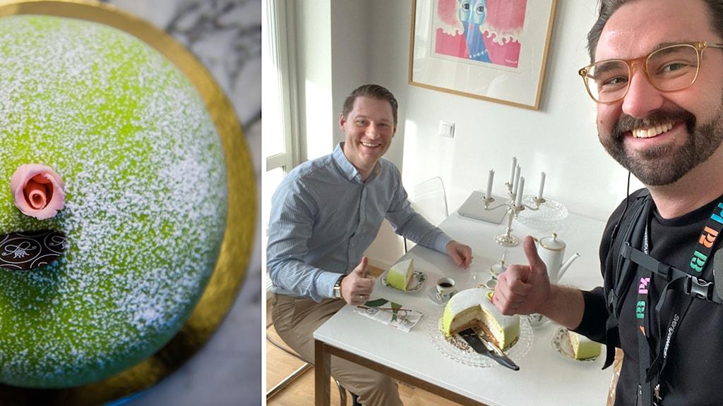 Vår reporter Fredrik Hilmered överraskar sin småländske vän Daniel med marsipantårta.