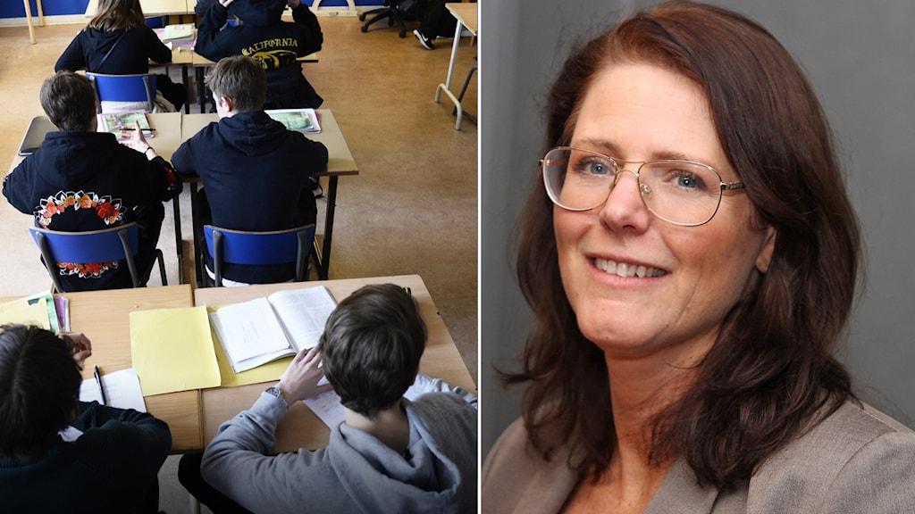 Elever och politikern Ebba Östlin.
