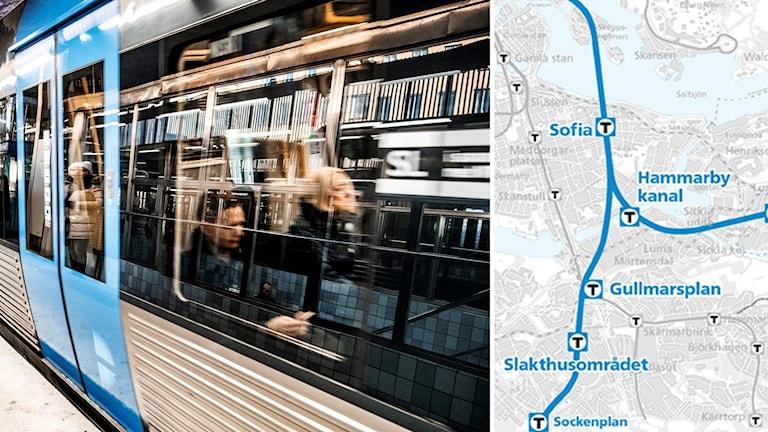 Tunnelbanevagn och skiss på t-banestationer.
