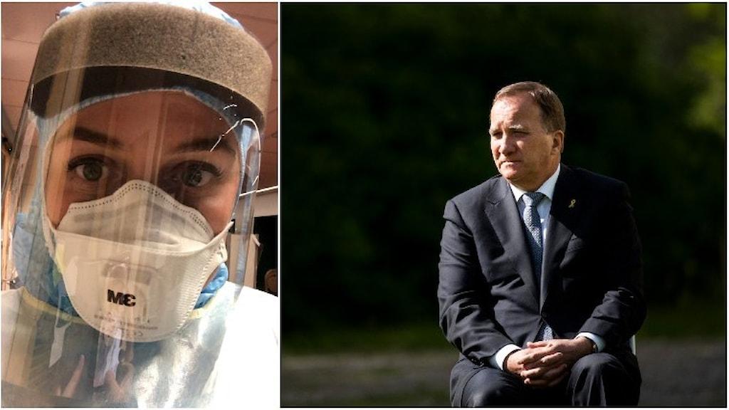 Till vänster, IVA-sjuksköterskan, Matilda. Till höger Stefan Löfven.
