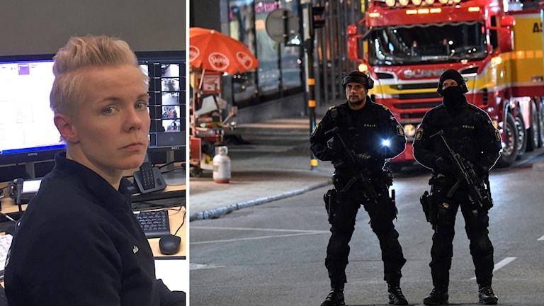 Amelie Pettersson och poliser.