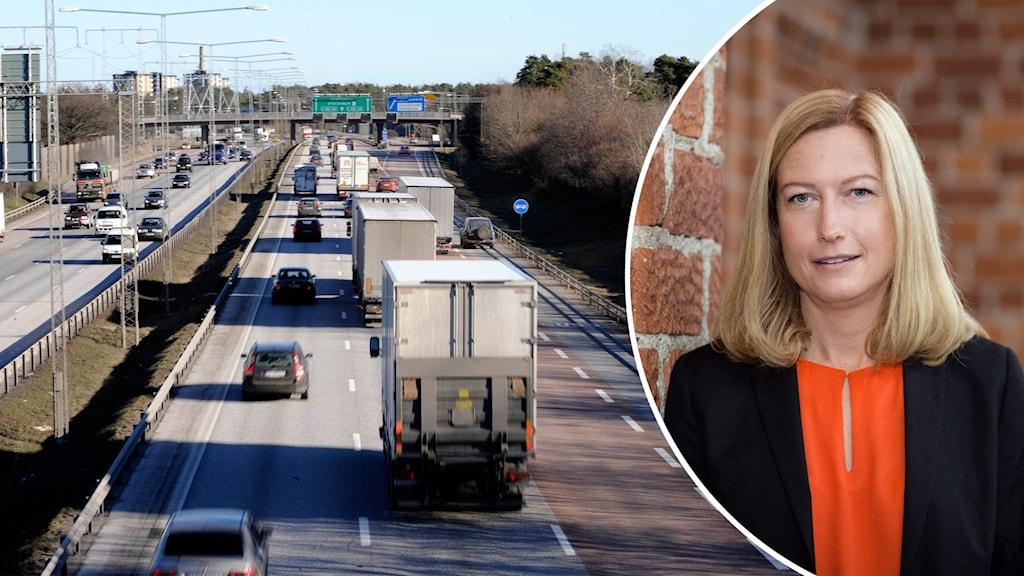 flera lastbilar på e4:an i södra Stockholm. En annan bild visar Katarina Luhr.