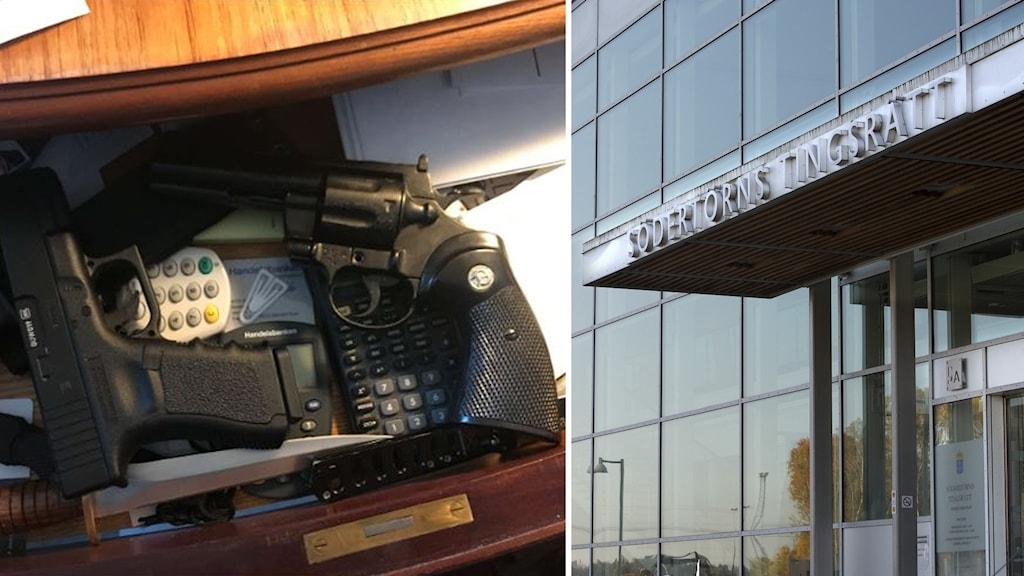 Bild på vapen från polisens förundersökning, till höger Södertörns tingsrätt.
