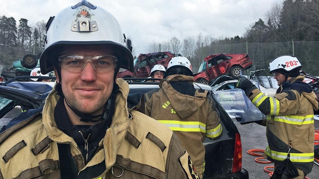 Tommy Carnebo och de andra brandmännen på Södertörns brandförsvar.