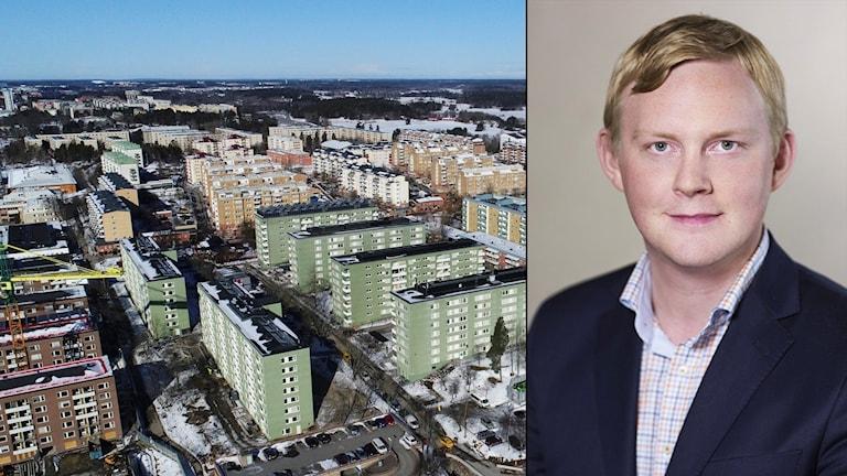 Montage Rinkeby och Dennis Wedin (M) bostadsborgarråd