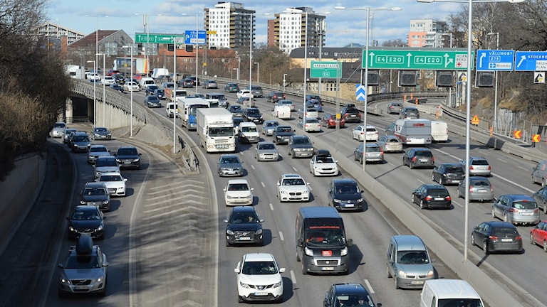 Påsktrafik på E4:an i Stockholm