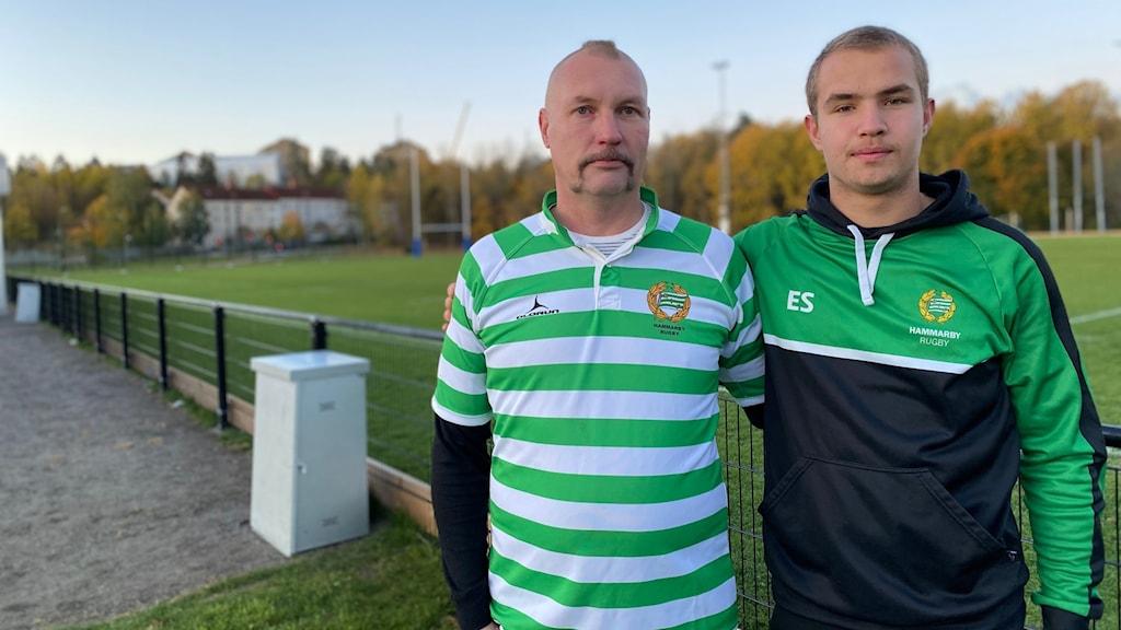 Mattias Gustafsson, numera medlem i  Hammarby Rugby och Elias Schveits, barn- och ungdomsansvarig.